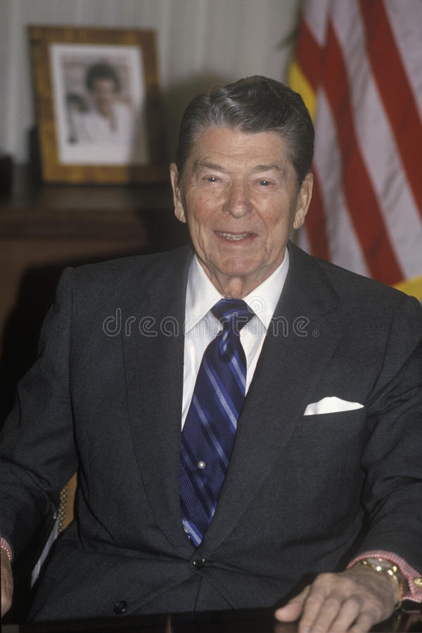 President Reagan. Presents an introduction for the Horatio Alger Association stock photography