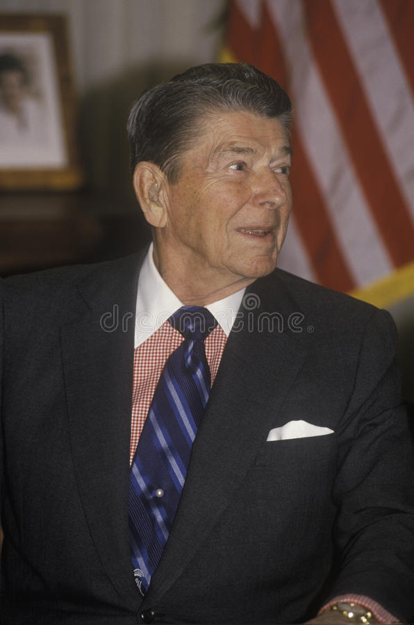 President Reagan. Presents an introduction for the Horatio Alger Association stock photos