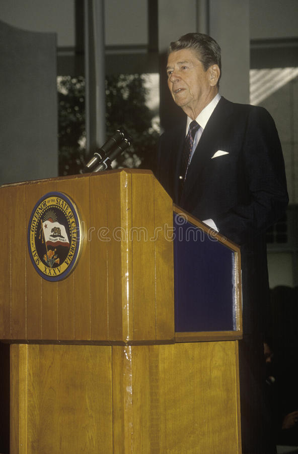 President Reagan. Presents an introduction for the Horatio Alger Association royalty free stock images