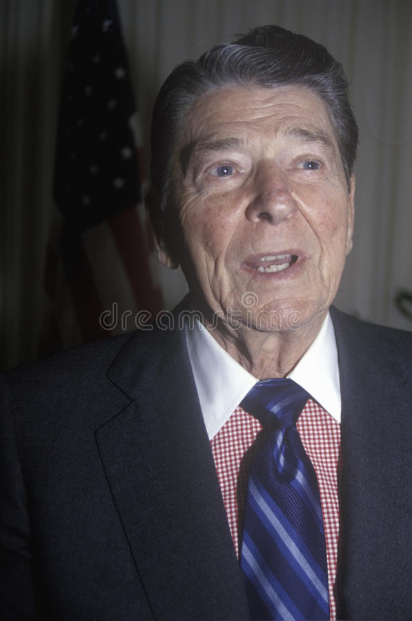 President Reagan presents an introduction for the Horatio Alger Association stock photography