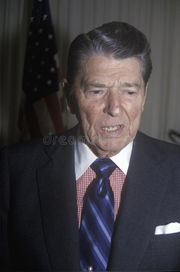 President Reagan presents an introduction for the Horatio Alger Association royalty free stock photo