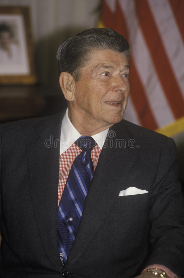 President Reagan presents an introduction for the Horatio Alger Association royalty free stock photos