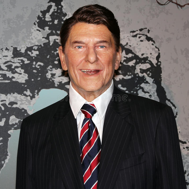 President Ronald Reagan. Ronald Reagan,the 40th president of USA at Madame Tussauds wax museum in Washington D.C stock image