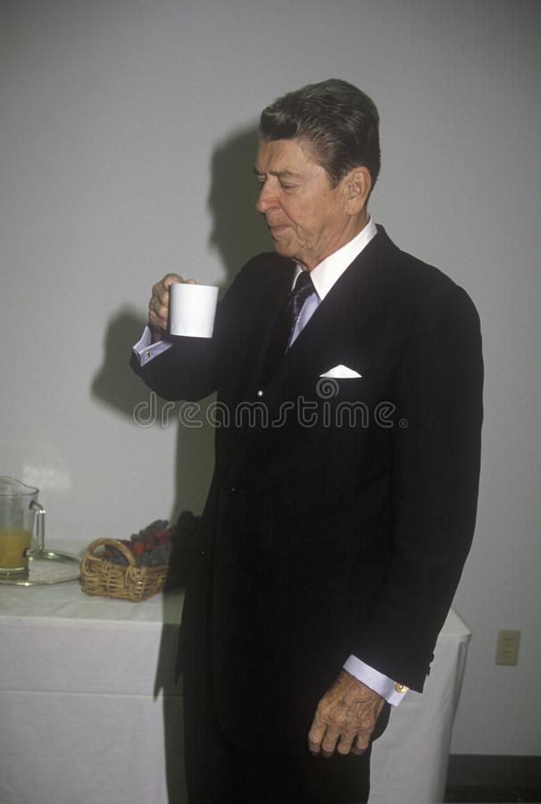 President Ronald Reagan. Taking a coffee break royalty free stock photos