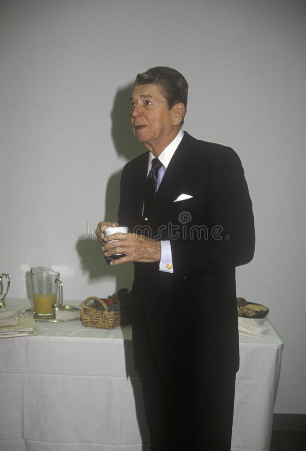 President Ronald Reagan. Taking a coffee break royalty free stock photo