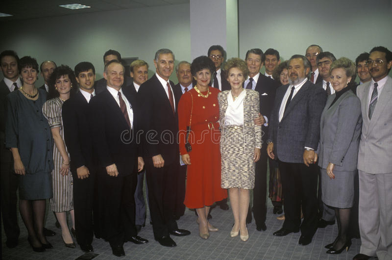 President Ronald Reagan and Mrs. Reagan. President Ronald Reagan, Mrs. Reagan, California governor George Deukmejian and wife and others politicians royalty free stock photo
