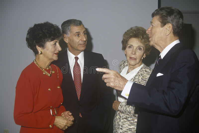 President Ronald Reagan, Mrs. Reagan, California governor George Deukmejian and wife royalty free stock image