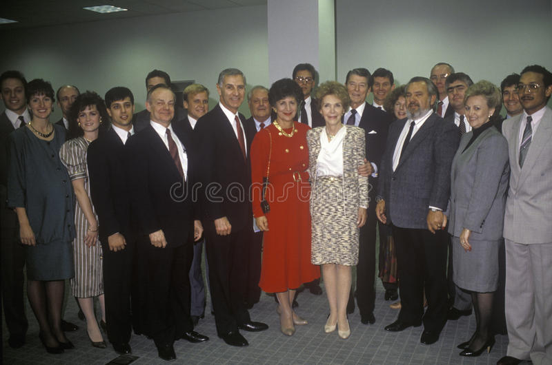 President Ronald Reagan, Mrs. Reagan, California governor George Deukmejian and wife and others politicians royalty free stock photography