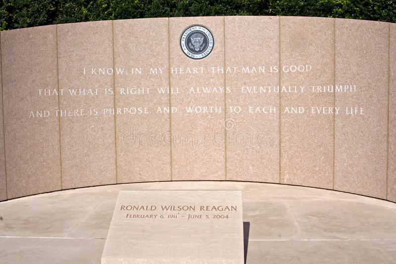 President Ronald Reagan's grave. President Ronald Wilson Reagan's gravesite located in Simi Valley, California, USA royalty free stock photo