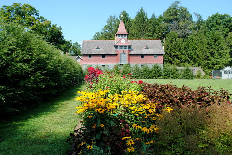 President Roosevelt's Carriage House, Hyde Park NY. This is a photo of the late President Roosevelt's Carriage house. The photo was taken from the garden. Hyde stock photo