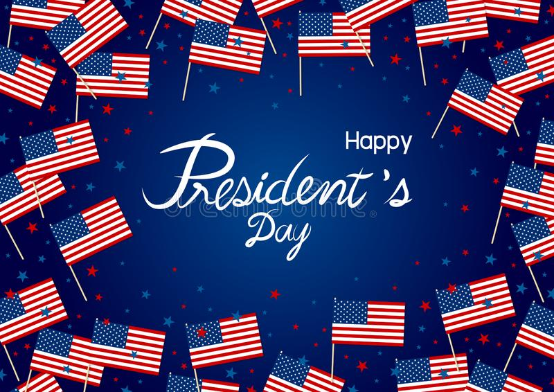 President`s day design of america flag and star on blue background royalty free illustration
