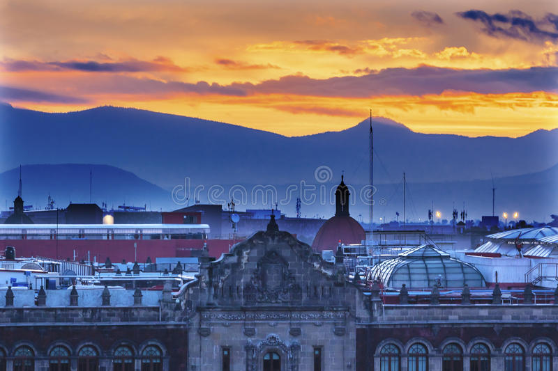 President's Palace Sunrise Zocalo Mexico City stock image