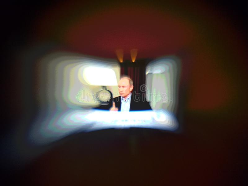 President speech. Artistic look in lensbaby view. stock images