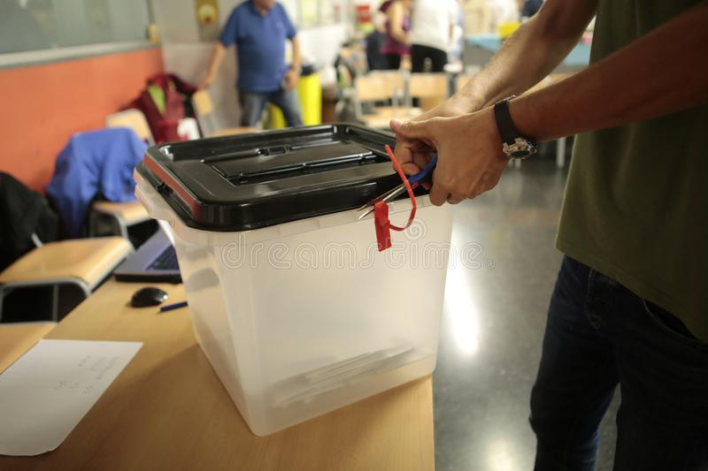Opening of a ballot in a Polling station referendum in barcelona royalty free stock photography