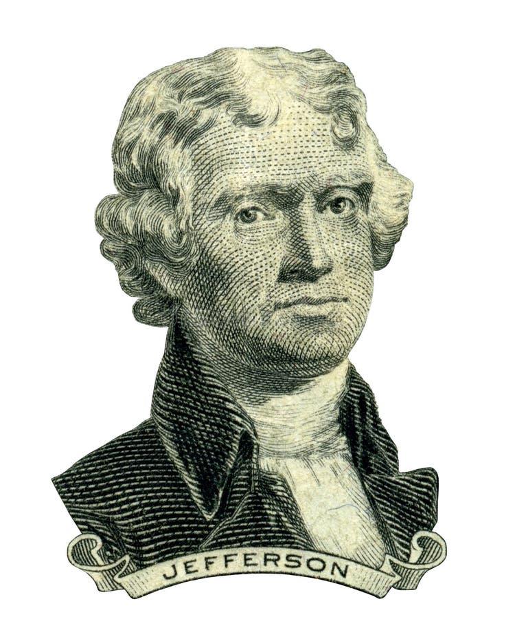 President Thomas Jefferson portrait (Clipping path) royalty free stock image