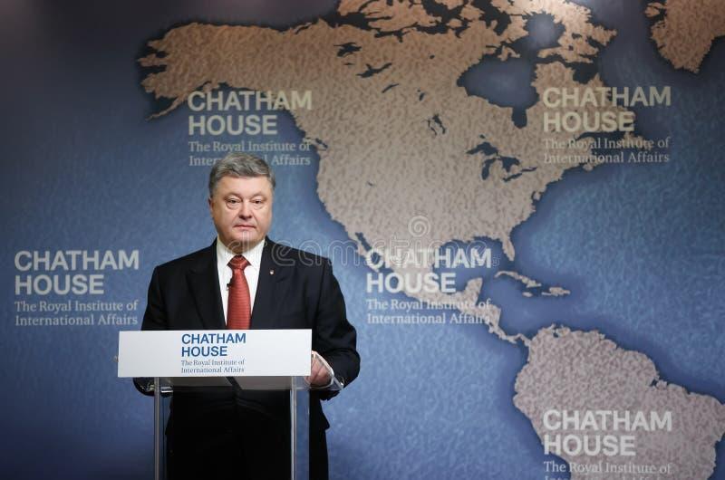 President of Ukraine Petro Poroshenko in Chatham House, UK. LONDON, UK - Apr 19, 2017: President of Ukraine Petro Poroshenko speaks at the Royal Institute of stock image