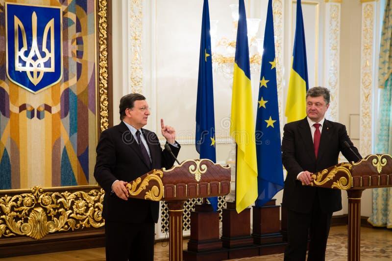 President of Ukraine Petro Poroshenko and European Commission Pr. KIEV, UKRAINE - Sep 12, 2014: President of Ukraine Petro Poroshenko and European Commission stock image