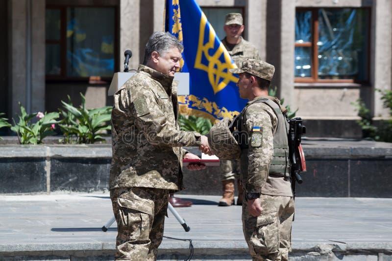President of Ukraine Petro Poroshenko has awarded the soldier royalty free stock photography