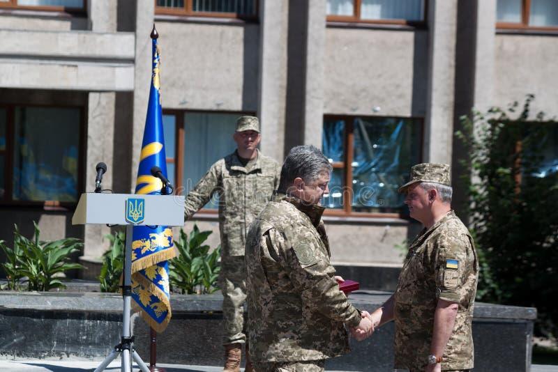 President of Ukraine Petro Poroshenko has awarded the soldier royalty free stock photos