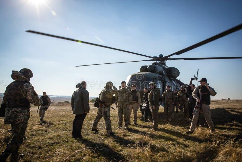 President of Ukraine Petro Poroshenko inspected the fortifications in the Donetsk region. DONETSK REGION, UKRAINE - Oct 10, 2014: President of Ukraine Petro stock photo