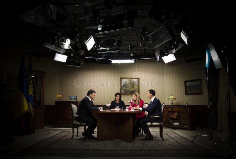 President of Ukraine Petro Poroshenko. KIEV, UKRAINE - Apr 10, 2016: President of Ukraine Petro Poroshenko gave an interview to Ukrainian TV channels stock photography