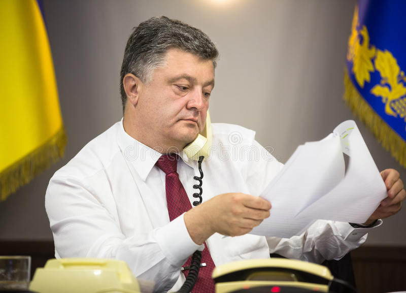 President of Ukraine Petro Poroshenko. KIEV, UKRAINE - Jun 23, 2015: President of Ukraine Petro Poroshenko held a telephone conversation with German Chancellor royalty free stock photography