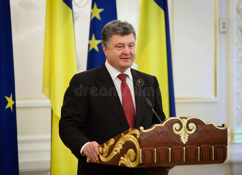 President of Ukraine Petro Poroshenko. KIEV, UKRAINE - Sep 12, 2014: President of Ukraine Petro Poroshenko during an official meeting with European Commission royalty free stock photos