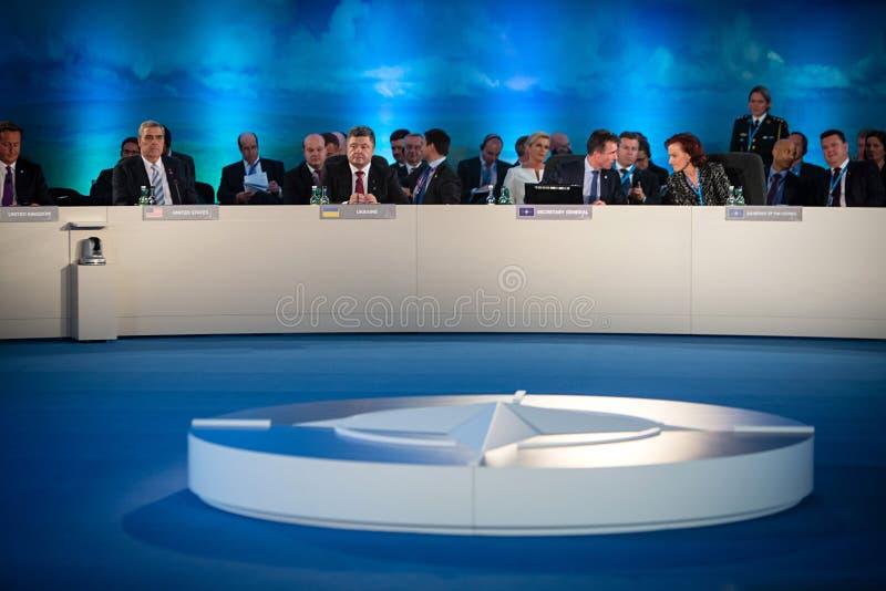 President of Ukraine Petro Poroshenko during a meeting of the NA. NEWPORT, WALES, UK - Sep 4, 2014: President of Ukraine Petro Poroshenko and world leaders royalty free stock photo