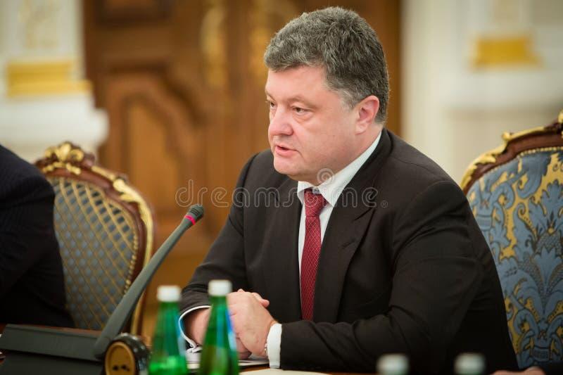 President of Ukraine Petro Poroshenko during the NSDC meeting. KIEV, UKRAINE - Aug 28, 2014: President of Ukraine Petro Poroshenko during the NSDC meeting in the royalty free stock photos
