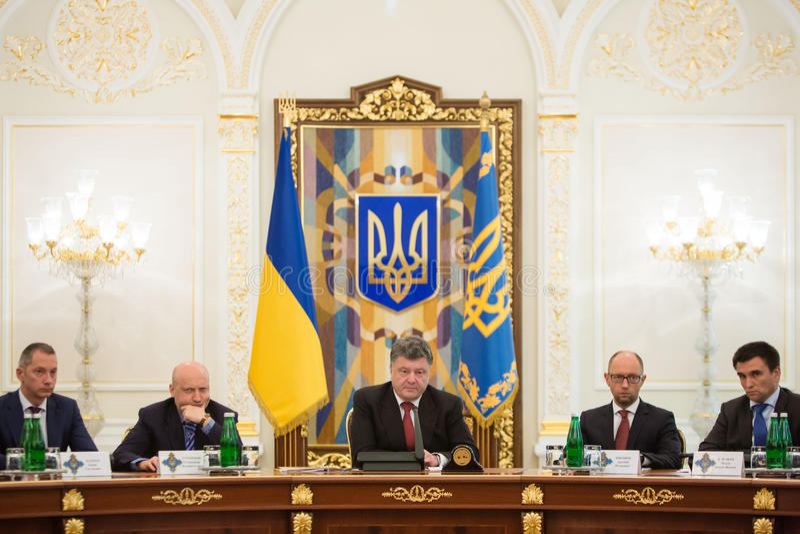President of Ukraine Petro Poroshenko during the NSDC meeting. KIEV, UKRAINE - Aug 28, 2014: President of Ukraine Petro Poroshenko during the NSDC meeting in the stock image