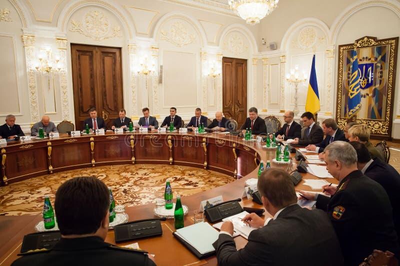 President of Ukraine Petro Poroshenko during the NSDC meeting. KIEV, UKRAINE - Aug 28, 2014: President of Ukraine Petro Poroshenko during the NSDC meeting in the stock photography