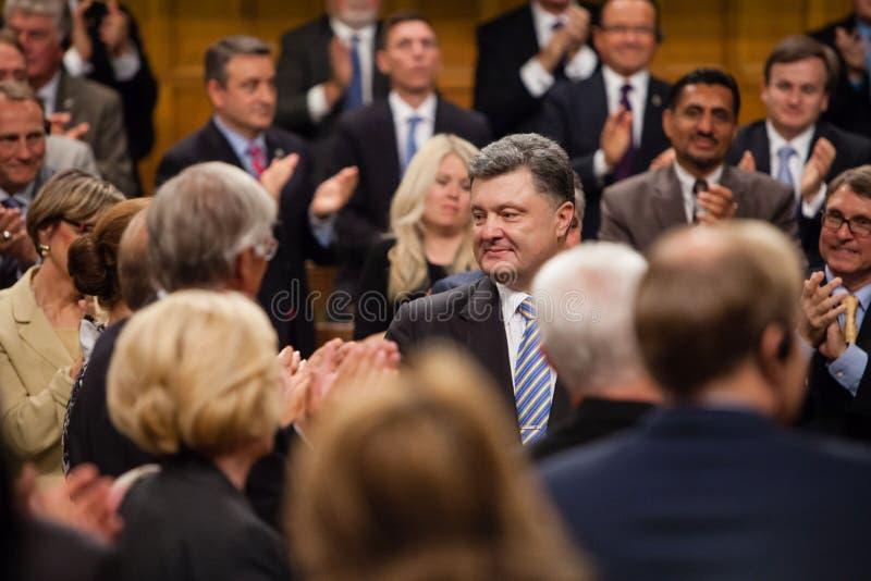 President of Ukraine Petro Poroshenko in Ottawa (Canada). OTTAWA, CANADA - Sep 17, 2014: President of Ukraine Petro Poroshenko during the joint meeting of the stock photos