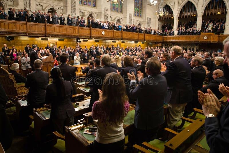 President of Ukraine Petro Poroshenko in Ottawa (Canada). OTTAWA, CANADA - Sep 17, 2014: President of Ukraine Petro Poroshenko during the joint meeting of the royalty free stock images