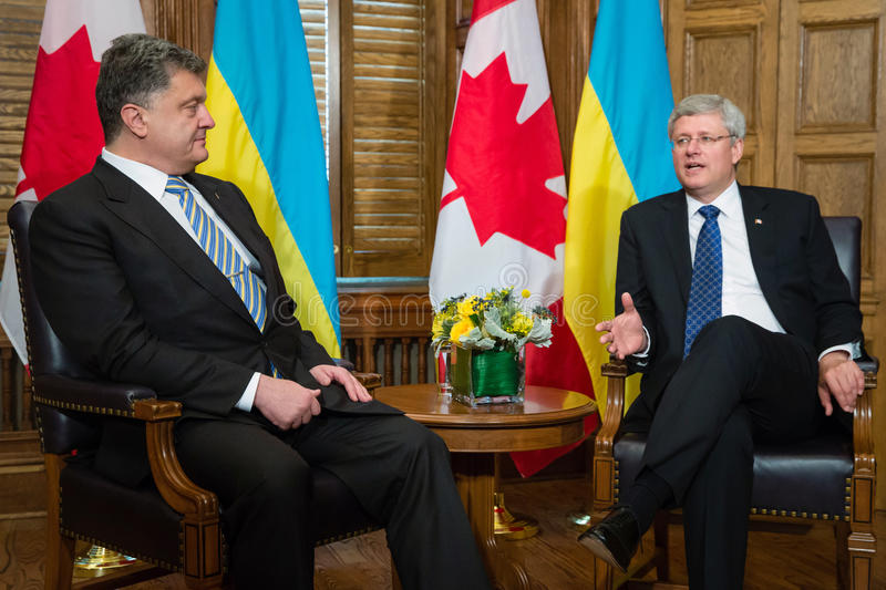 President of Ukraine Petro Poroshenko in Ottawa (Canada). OTTAWA, CANADA - Sep 17, 2014: President of Ukraine Petro Poroshenko during an official meeting with royalty free stock photo