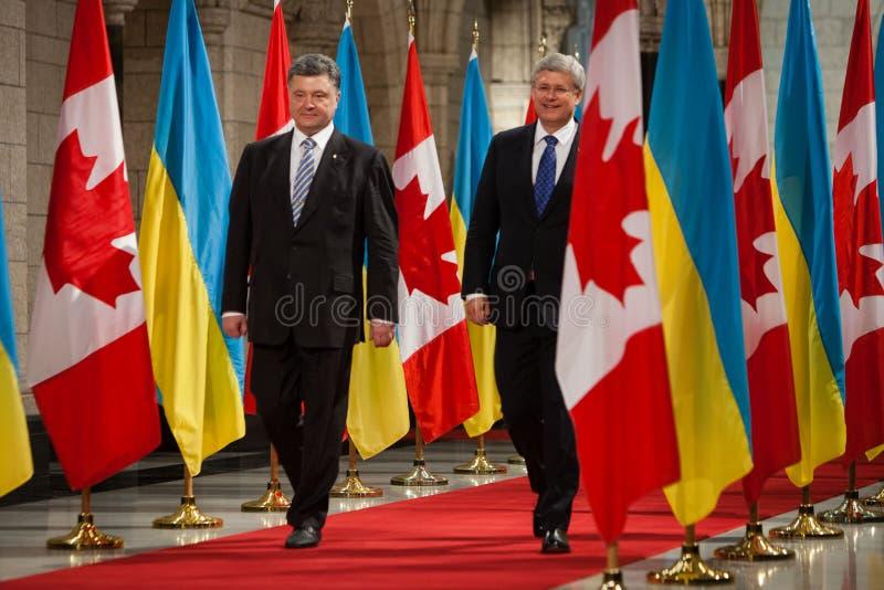 President of Ukraine Petro Poroshenko in Ottawa (Canada). OTTAWA, CANADA - Sep 17, 2014: President of Ukraine Petro Poroshenko during an official meeting with royalty free stock photography