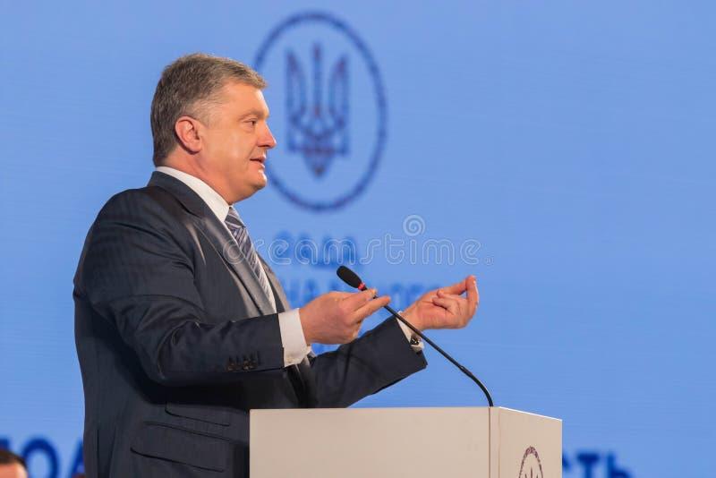 President of Ukraine Petro Poroshenko. POLTAVA, UKRAINE - MARCH 16, 2019: President of Ukraine Petro Poroshenko during meeting of the Council for Regional stock photo