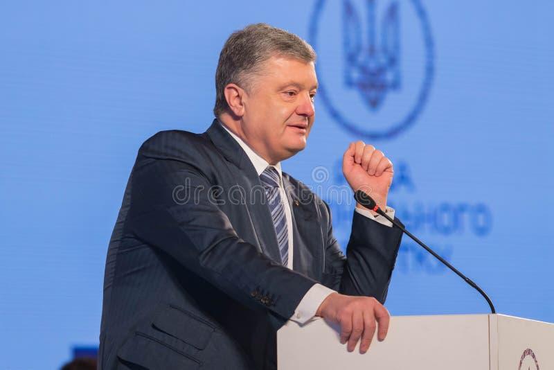 President of Ukraine Petro Poroshenko. POLTAVA, UKRAINE - MARCH 16, 2019: President of Ukraine Petro Poroshenko during meeting of the Council for Regional stock photography