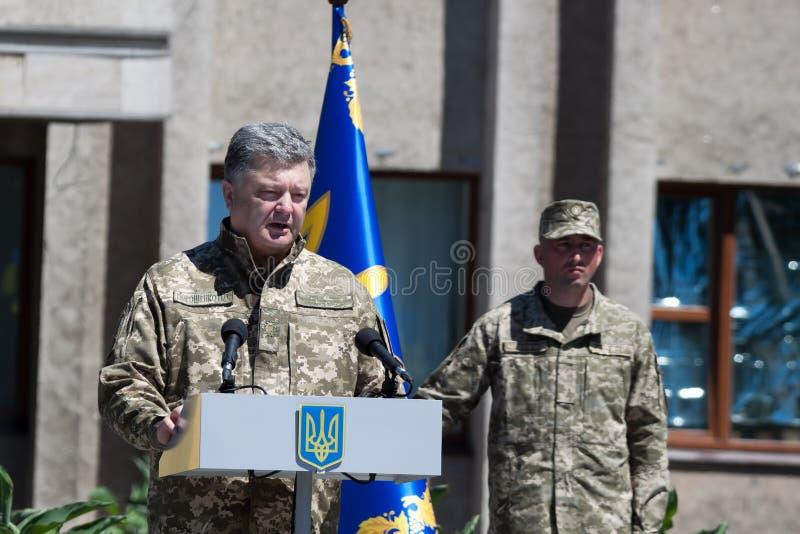 President of Ukraine Petro Poroshenko is speaking at the ceremonial meetin stock photography