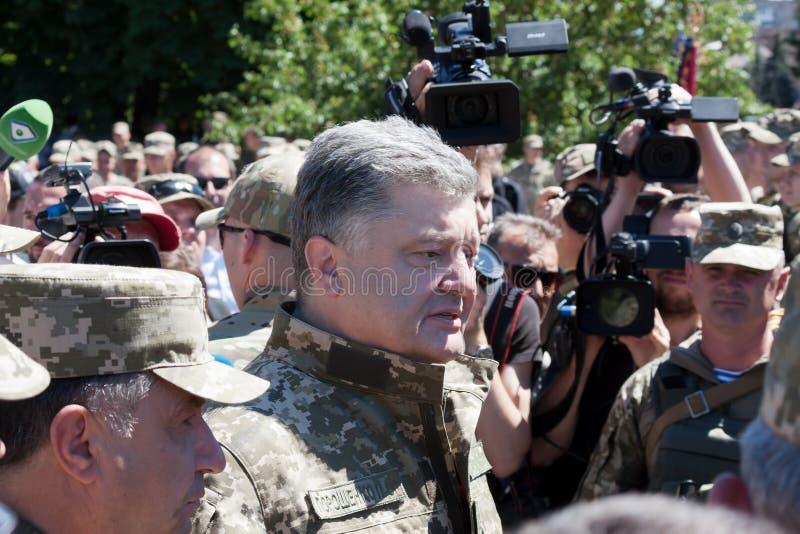 President of Ukraine Petro Poroshenko talks with people stock photo