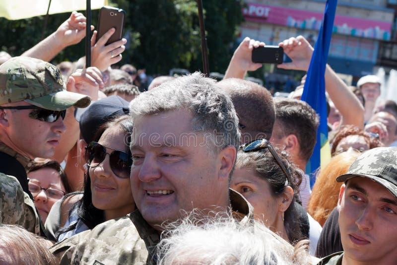 President of Ukraine Petro Poroshenko talks with people stock photos