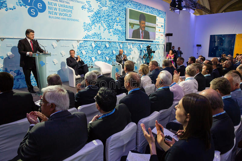 President of Ukraine Petro Poroshenko at the 11th Annual Meeting. KIEV, UKRAINE - Sep 12, 2014: President of Ukraine Petro Poroshenko at the opening of the 11th royalty free stock photos