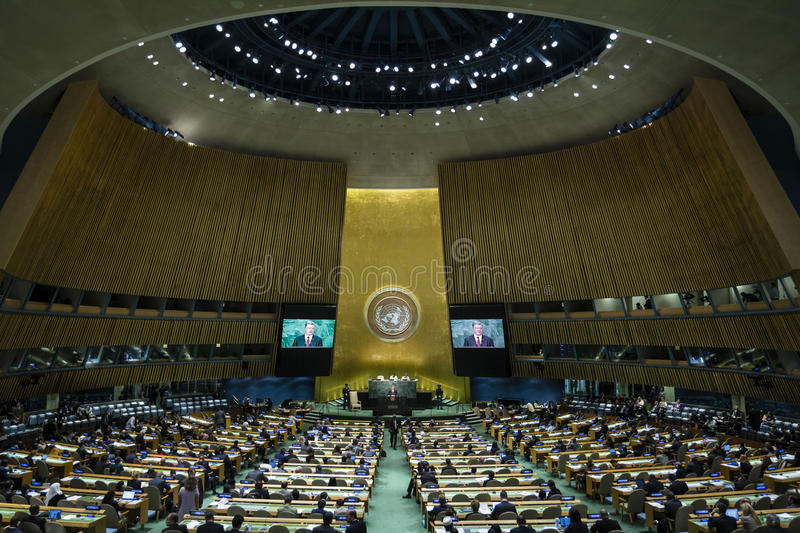 President of Ukraine Petro Poroshenko during on UN General Assembly. NEW YORK, USA - Sep 21, 2016: Speech by the President of Ukraine Petro Poroshenko during the stock photography