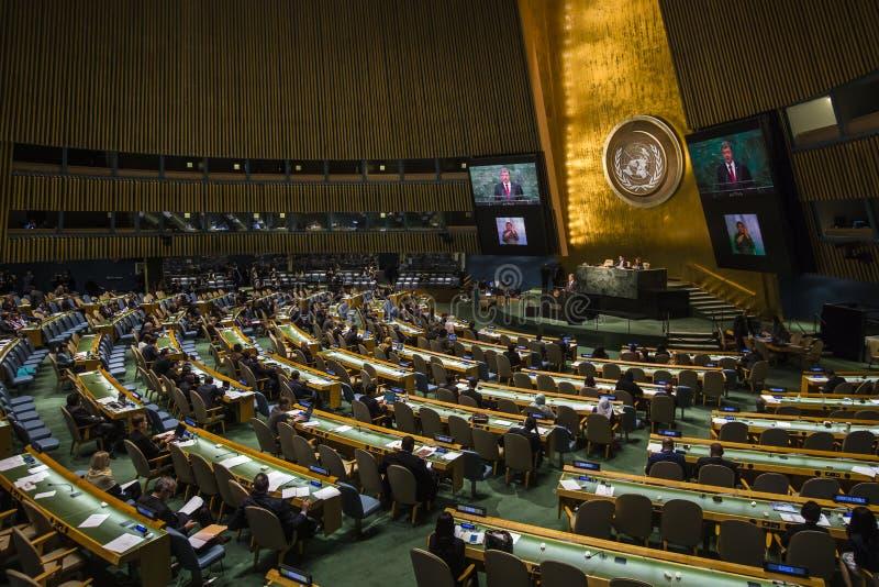 President of Ukraine Petro Poroshenko at UN General Assembly. NEW YORK, USA - Sep 27, 2015: President of Ukraine Poroshenko Petro delivers his speech at the UN royalty free stock photo