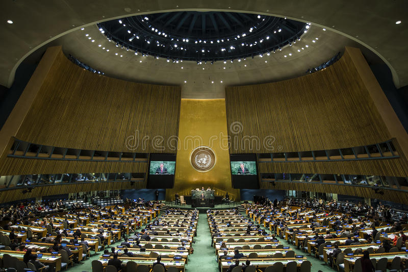 President of Ukraine Petro Poroshenko at UN General Assembly. NEW YORK, USA - Sep 29, 2015: Speech of the President of Ukraine Petro Poroshenko at the general stock photography