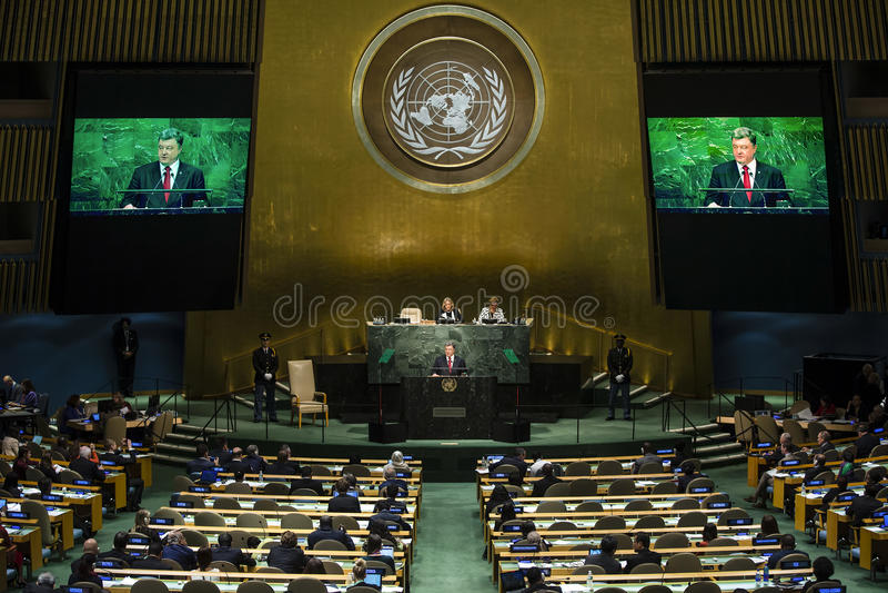 President of Ukraine Petro Poroshenko at UN General Assembly. NEW YORK, USA - Sep 29, 2015: Speech of the President of Ukraine Petro Poroshenko at the general royalty free stock photo