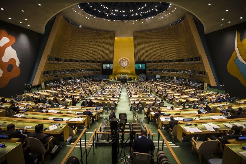 President of Ukraine Petro Poroshenko in UN General Assembly. NEW YORK, USA - Sep 20, 2017: Speech by the President of Ukraine Petro Poroshenko during the 72th stock photos