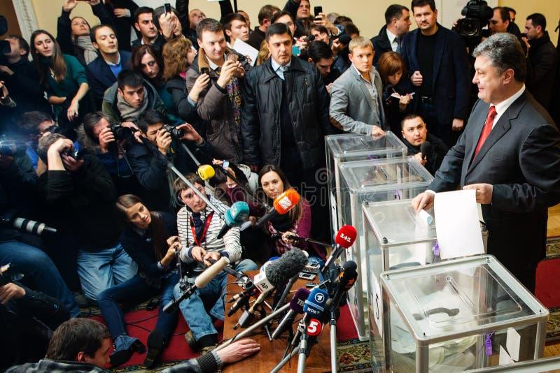 President of Ukraine Petro Poroshenko voted on early elections t. KIEV, UKRAINE - Oct 26, 2014: President of Ukraine Petro Poroshenko voted on early elections to royalty free stock photography