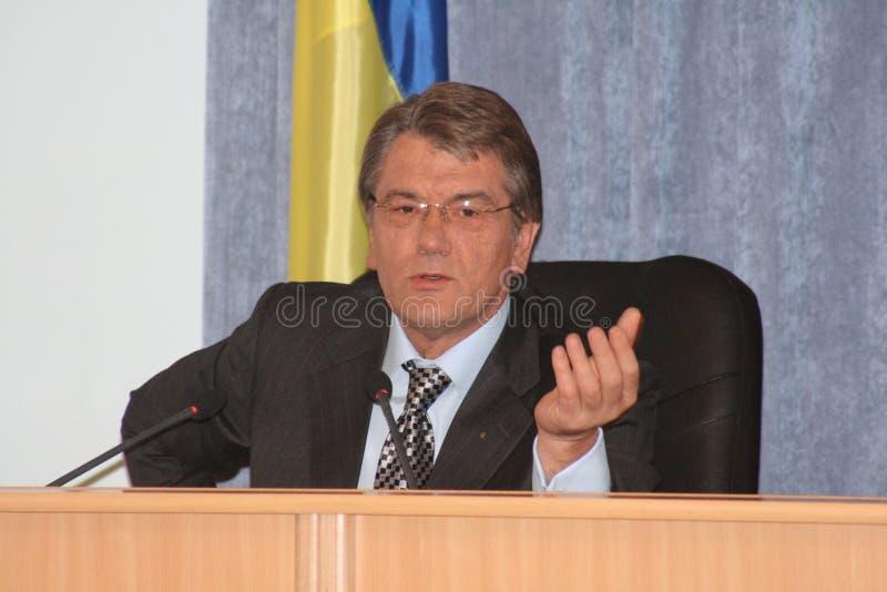 president ukraine Viktor Yushchenko royaltyfri bild