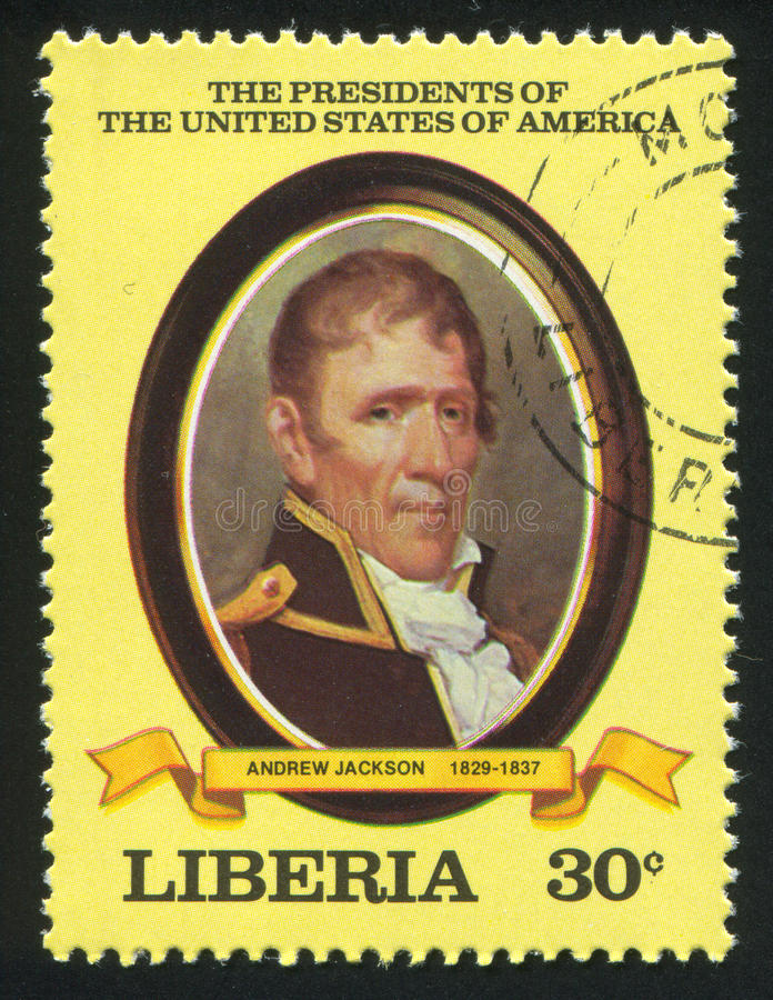 President of the United States Andrew Jackson. LIBERIA - CIRCA 1981: stamp printed by Liberia, shows President of the United States Andrew Jackson, circa 1981 royalty free stock photos