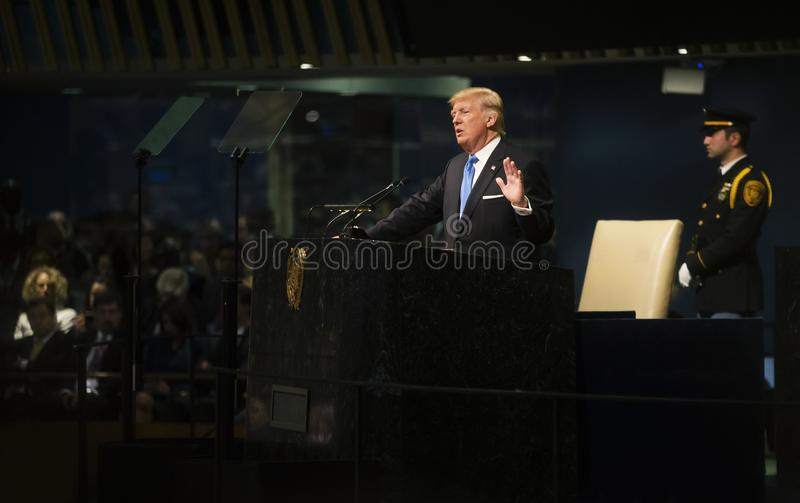 President of the United States Donald Trump. NEW YORK, USA - Sep 19, 2017: President of the United States Donald Trump speaks at the general political discussion royalty free stock images